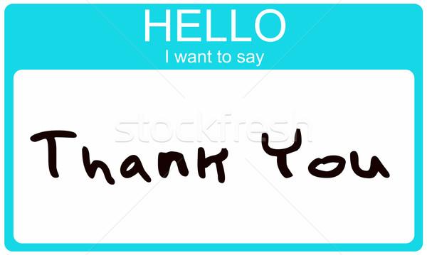 Hello köszönjük víz kék névtábla matrica Stock fotó © mybaitshop