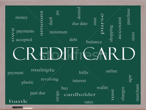 Credit Card Word Cloud Concept on a Blackboard Stock photo © mybaitshop