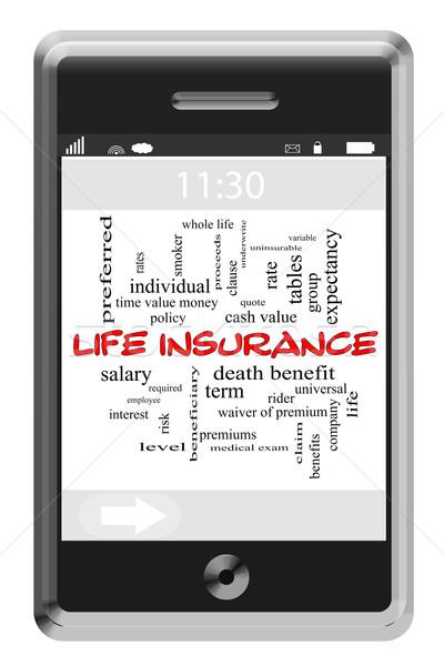 Assicurazione sulla vita word cloud telefono tutto Foto d'archivio © mybaitshop