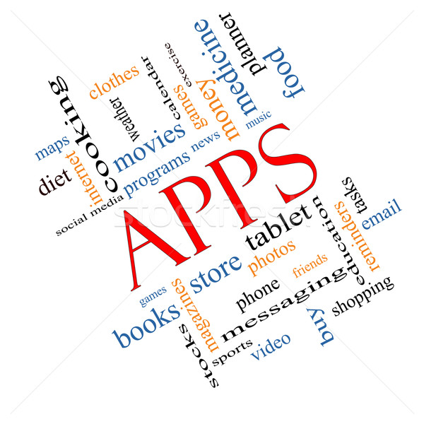 Apps Word Cloud Concept Angled Stock photo © mybaitshop