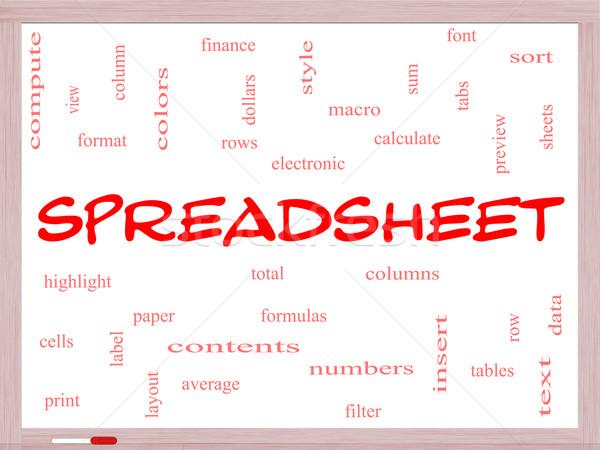 Spreadsheet Word Cloud Concept on a Whiteboard Stock photo © mybaitshop