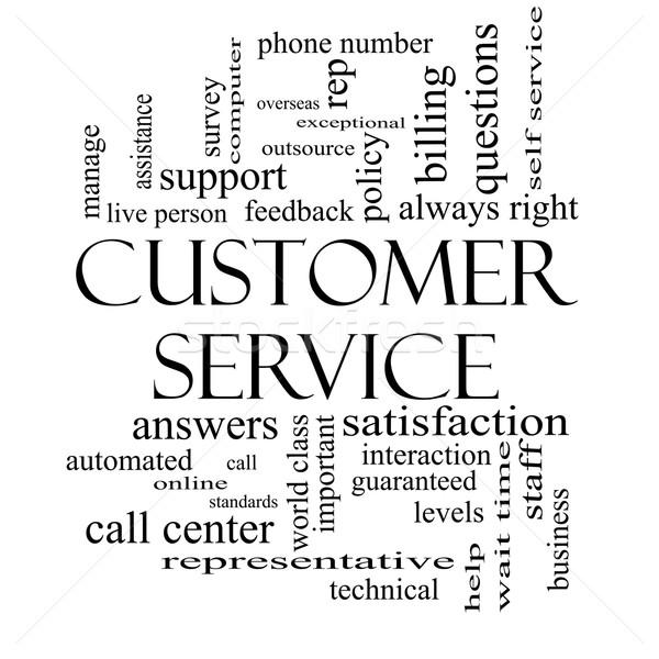 Obsługa klienta chmura słowo czarno białe call center pomoc Zdjęcia stock © mybaitshop
