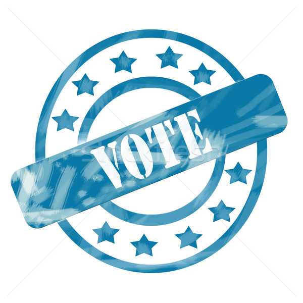 Blue Weathered Vote Stamp Circles and Stars Stock photo © mybaitshop