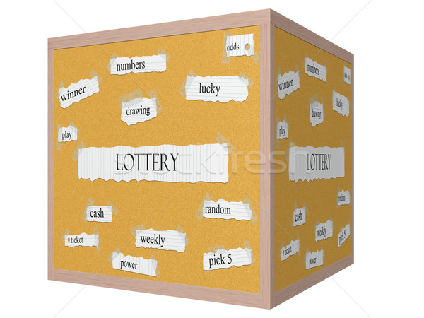 Lottery 3D cube Corkboard Word Concept Stock photo © mybaitshop