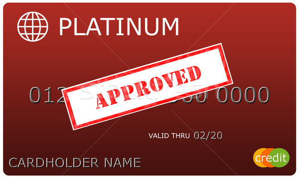 Platinum red Credit Card with Approved sticker Stock photo © mybaitshop