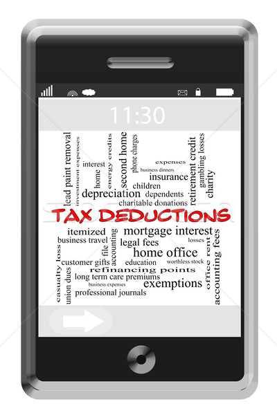 Tax Deductions Word Cloud Concept on Touchscreen Phone Stock photo © mybaitshop