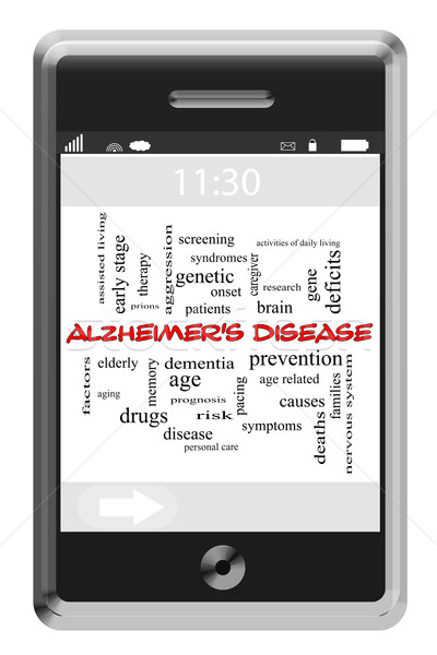 Alzheimer's Disease Word Cloud Concept on Touchscreen Phone Stock photo © mybaitshop