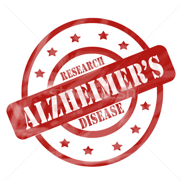 Red Weathered Alzheimer's Disease Research Stamp Circles and Stars Stock photo © mybaitshop