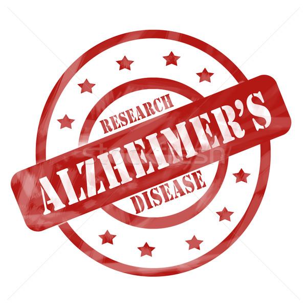 Piros viharvert Alzheimer-kór kutatás bélyeg körök Stock fotó © mybaitshop