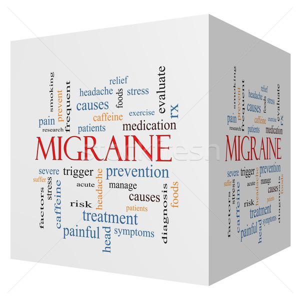 Migrén 3D kocka szófelhő nagyszerű fejfájás Stock fotó © mybaitshop