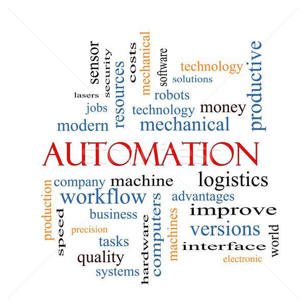 Automatizálás szófelhő nagyszerű robotok gép logisztika Stock fotó © mybaitshop