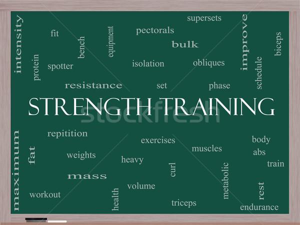 Krachttraining woordwolk Blackboard groot lichaam spieren Stockfoto © mybaitshop