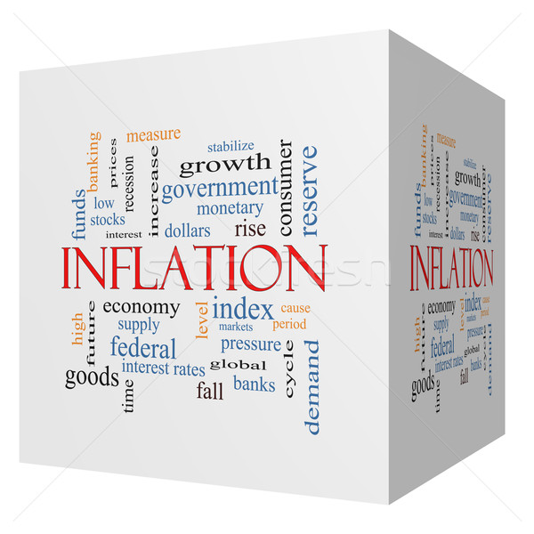 Inflation 3D cube Word Cloud Concept Stock photo © mybaitshop