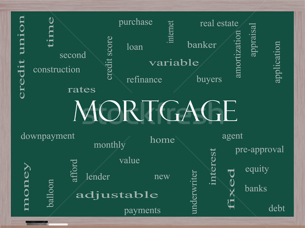 Mortgage Word Cloud Concept on a Blackboard Stock photo © mybaitshop