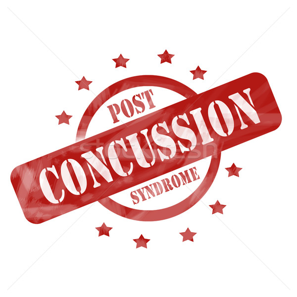 Red Weathered Post Concussion Syndrome Stamp design Stock photo © mybaitshop