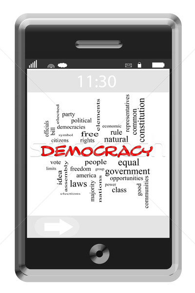 Democracy Word Cloud Concept on a Touchscreen Phone Stock photo © mybaitshop