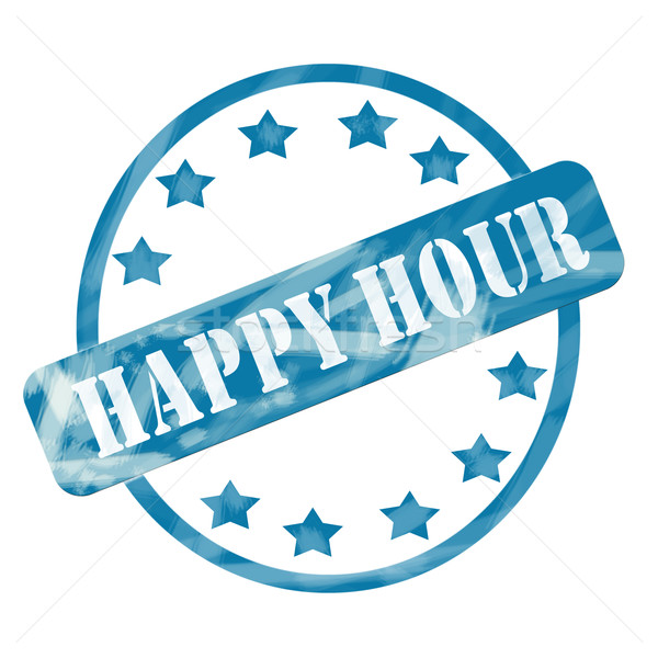 Blue Weathered Happy Hour Stamp Circle and Stars Stock photo © mybaitshop