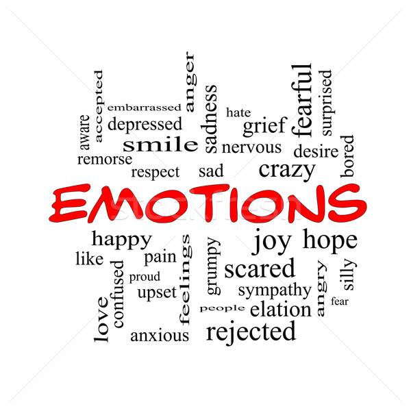 Stockfoto: Emoties · woordwolk · Rood · groot · triest · gelukkig