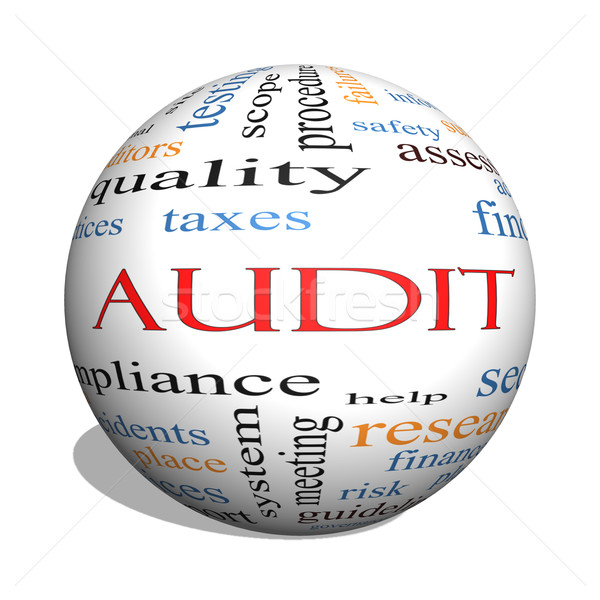 Stock photo: Audit 3D sphere Word Cloud Concept