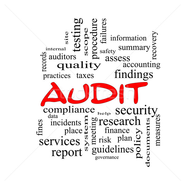 Audit Word Cloud Concept in red caps Stock photo © mybaitshop