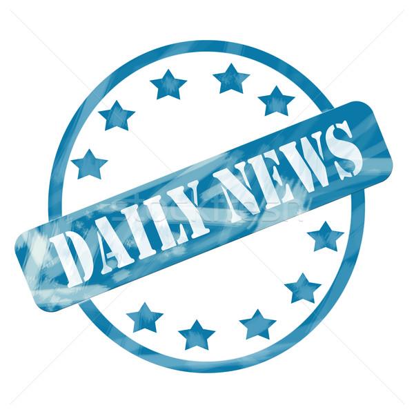 Niebieski wyblakły codziennie wiadomości pieczęć kółko Zdjęcia stock © mybaitshop