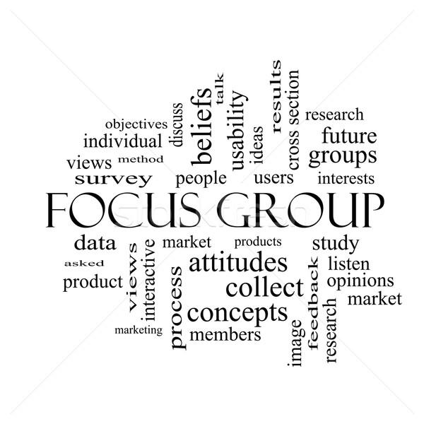 Groupe de discussion nuage de mots blanc noir magnifique recherche utilisateurs Photo stock © mybaitshop