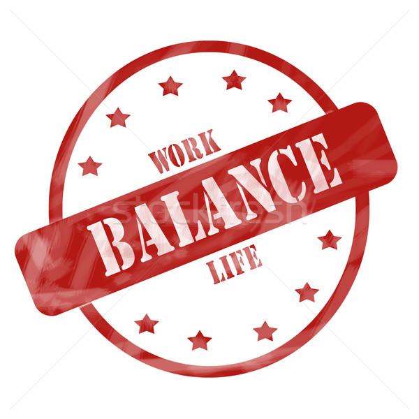 Rot verwitterten Arbeit Leben Gleichgewicht Stempel Stock foto © mybaitshop