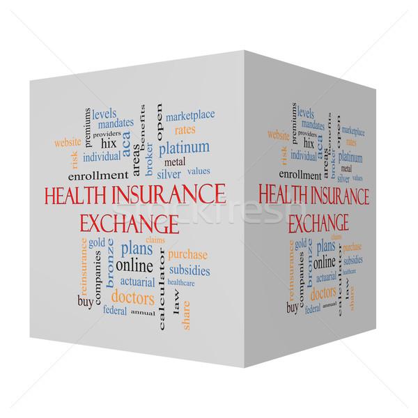 Сток-фото: Медицинское · страхование · обмена · 3D · куб · слово · облако