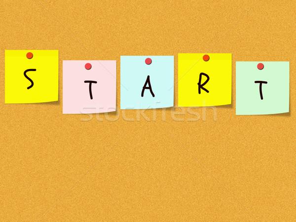 Começar notas boletim conselho colorido praça Foto stock © mybaitshop