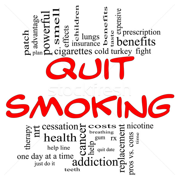 Quit Smoking Word Cloud Concept in red & black Stock photo © mybaitshop