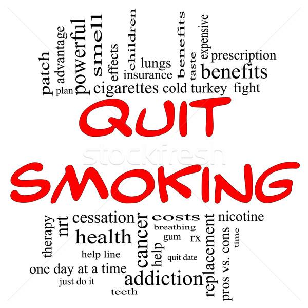 Roken woordwolk Rood zwarte brieven groot Stockfoto © mybaitshop