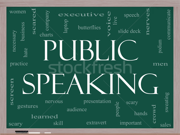 Public Speaking Word Cloud Concept on a Blackboard Stock photo © mybaitshop