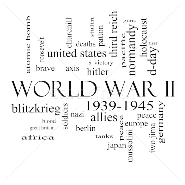 World War II Word Cloud Concept in Black and White Stock photo © mybaitshop