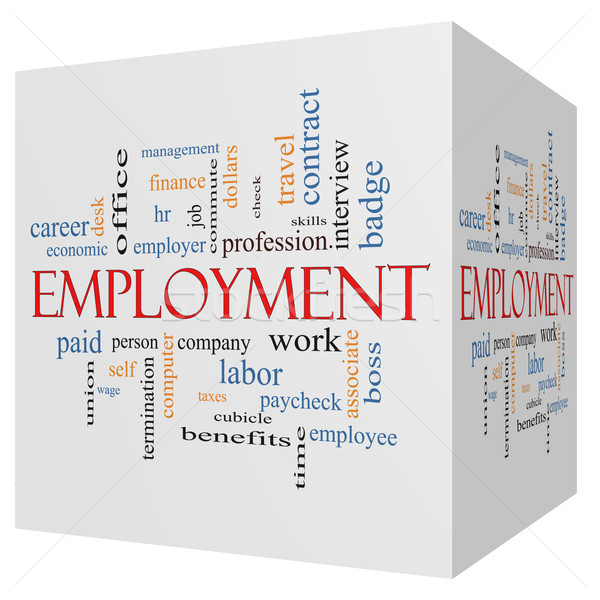 Employment 3D Cube Word Cloud Concept Stock photo © mybaitshop