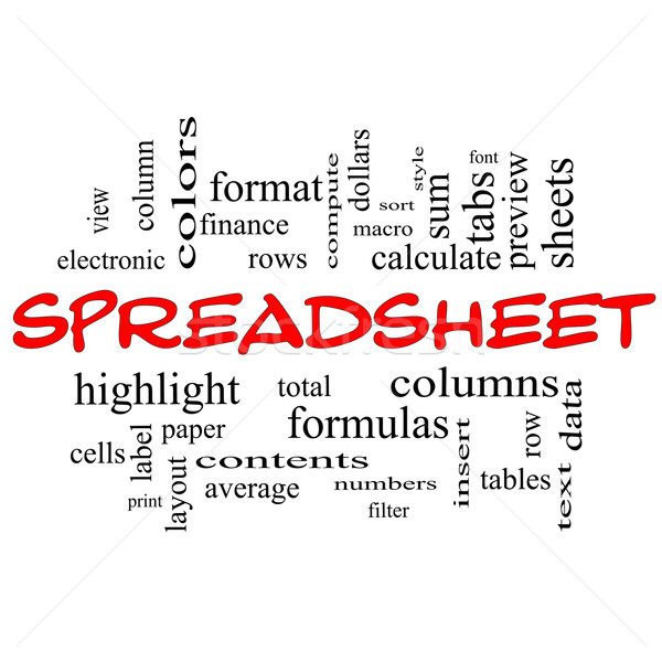 Spreadsheet Word Cloud Concept in red caps Stock photo © mybaitshop