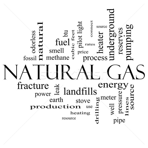 Natural Gas Word Cloud Concept in black and white Stock photo © mybaitshop
