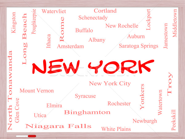 New York State Word Cloud Concept on a Whiteboard Stock photo © mybaitshop