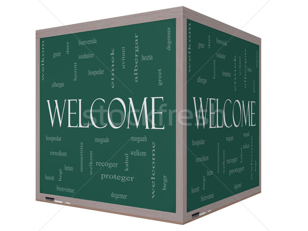 Welcome Foreign Language Word Cloud on 3D cube Blackboard Stock photo © mybaitshop