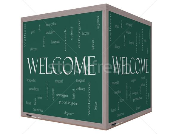 Stock fotó: üdvözlet · külföldi · nyelv · szófelhő · 3D · kocka