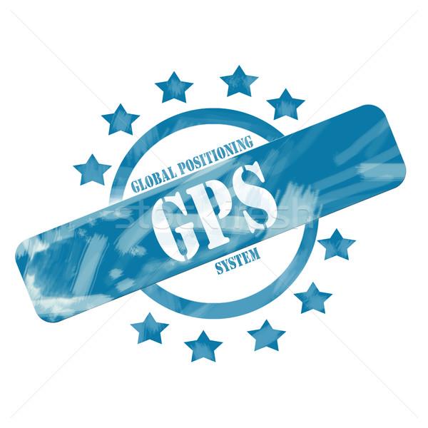 Blue Weathered GPS Stamp Circle and Stars design Stock photo © mybaitshop