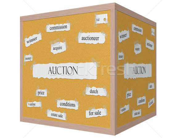 Auction 3D cube Corkboard Word Concept Stock photo © mybaitshop