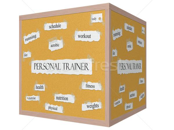 Personal trainer 3D kubus woord groot training Stockfoto © mybaitshop