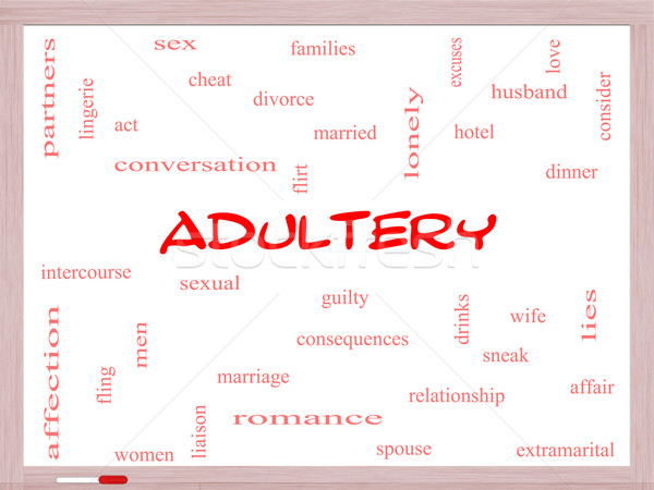 Adultery Word Cloud Concept on a Whiteboard Stock photo © mybaitshop