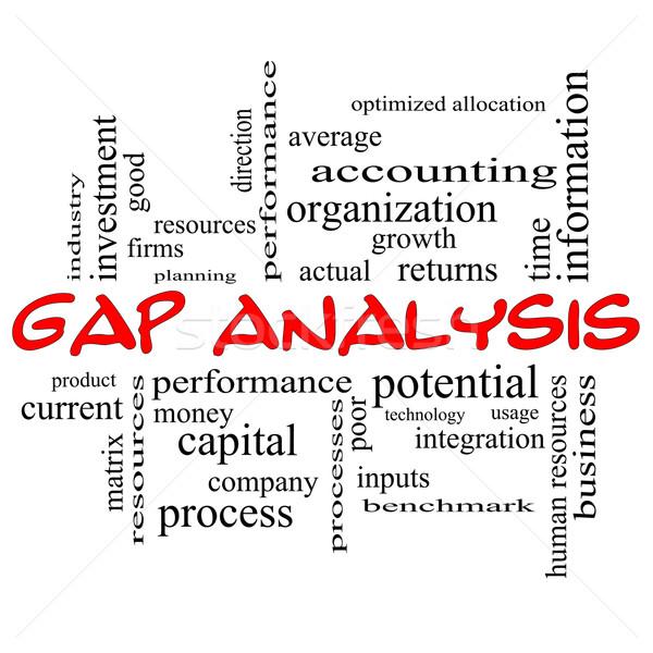 Kloof analyse woordwolk Rood groot groei Stockfoto © mybaitshop