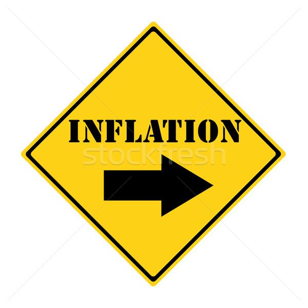 Inflación manera signo amarillo negro diamantes Foto stock © mybaitshop