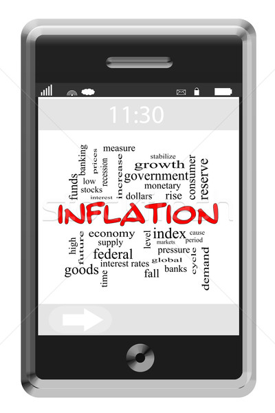 Inflation Word Cloud Concept on Touchscreen Phone Stock photo © mybaitshop