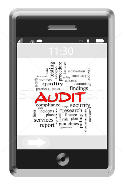 Audit Word Cloud Concept on a Touchscreen Phone Stock photo © mybaitshop