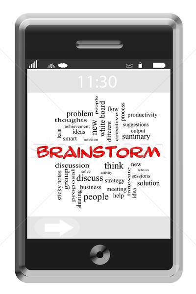 Brainstorm Word Cloud Concept on a Touchscreen Phone Stock photo © mybaitshop
