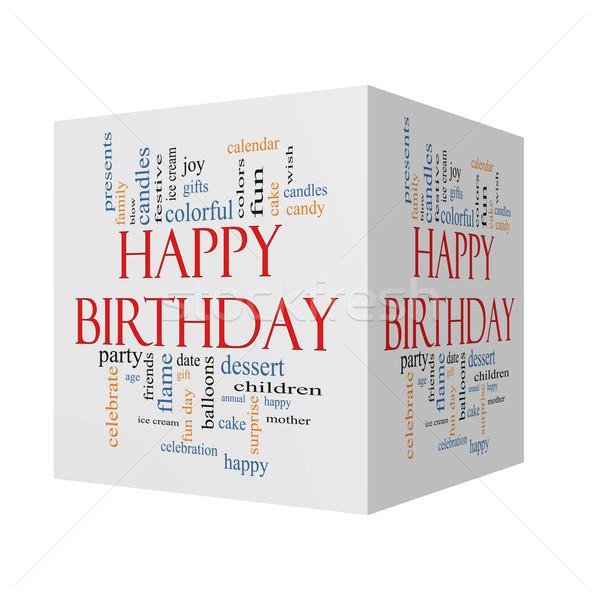 Stockfoto: Gelukkige · verjaardag · 3D · kubus · woordwolk · groot · presenteert
