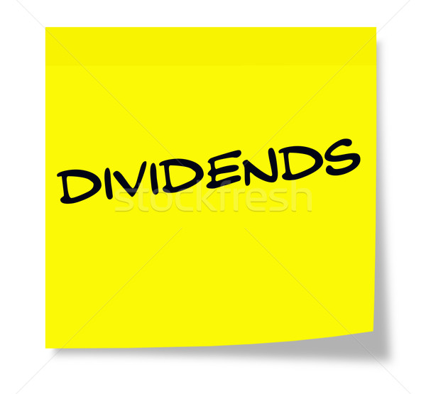 Dividends written on a yellow sticky note Stock photo © mybaitshop